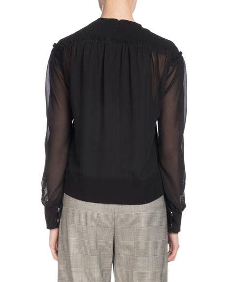 Long-Sleeve Button-Cuff Chiffon Blouse