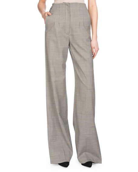 High-Waist Wide-Leg Plaid Wool Suiting Pants w/ Side Cuff Detail