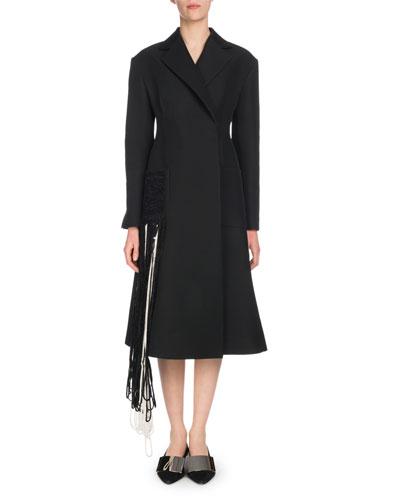 Notched-Lapel Self-Belt Yarn-Fringe Wool-Blend Coat