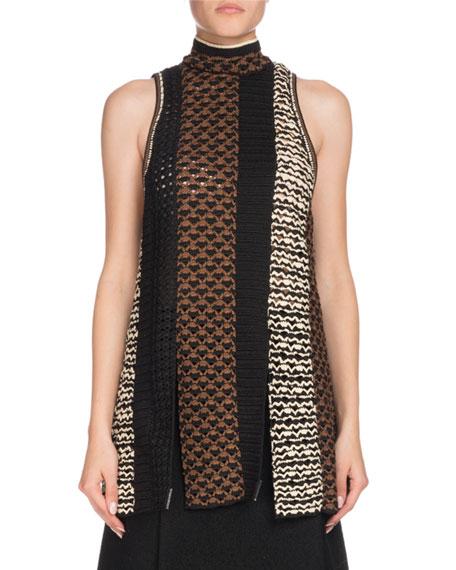 Sleeveless Tie-Neck Multicolor Crochet Tunic in Black