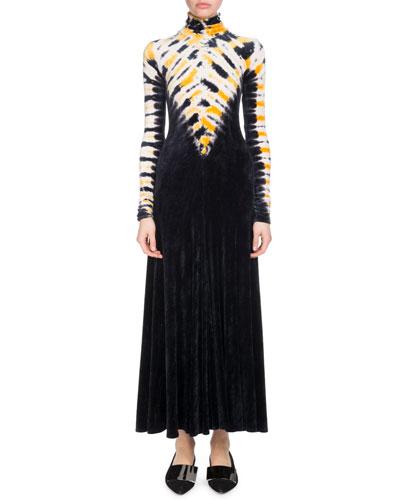 Turtleneck Long-Sleeve Degrade Velvet Long Dress