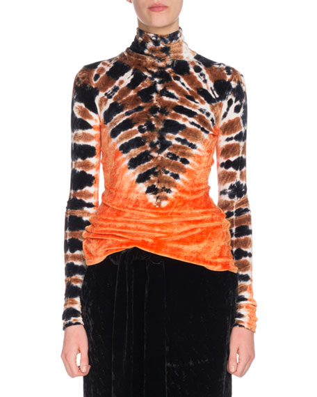 Image 1 of 2: Turtleneck Long-Sleeve Tie-Dye Degrade Velvet Top