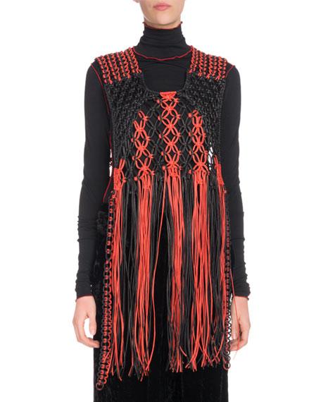 Macrame Braided Leather Fringe Pullover Vest in Black