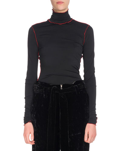 Turtleneck Long-Sleeve Fitted Top w/ Contrast Piping