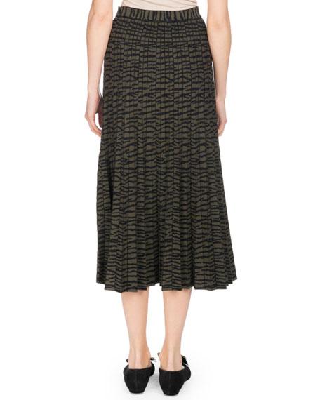 Pleated A-Line Tiger-Jacquard Midi Skirt