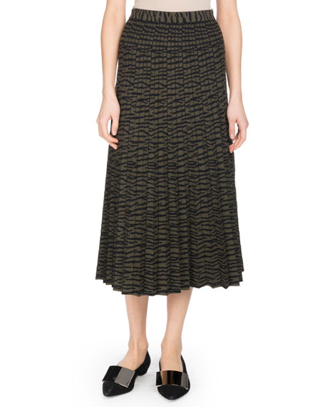 Pleated A-Line Tiger-Jacquard Midi Skirt in Green