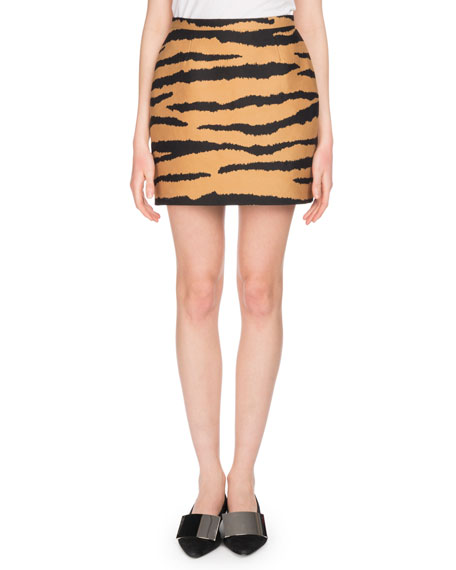 Tiger-Jacquard Straight Mini Skirt