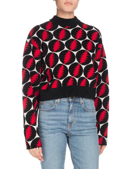 Proenza Schouler Crewneck Long-Sleeve Lightning-Bolt Pullover Sweater