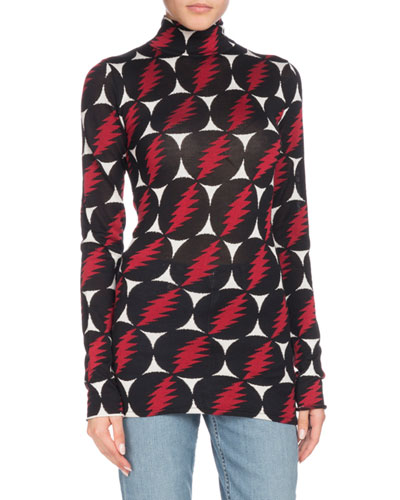 Turtleneck Long-Sleeve Lightning-Bolt Silk Top