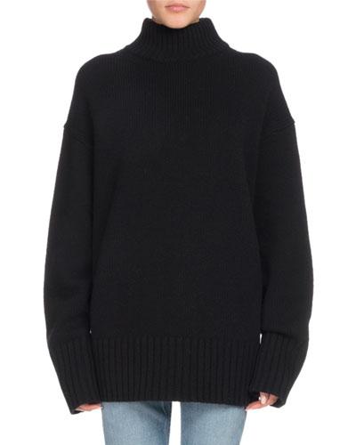 Turtleneck Long-Sleeve Wool-Cashmere Oversized Sweater