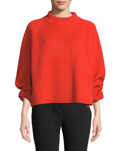 Mock-Neck Raglan Sleeve Ribbed Wool-Blend Sweater w/ Side Slit