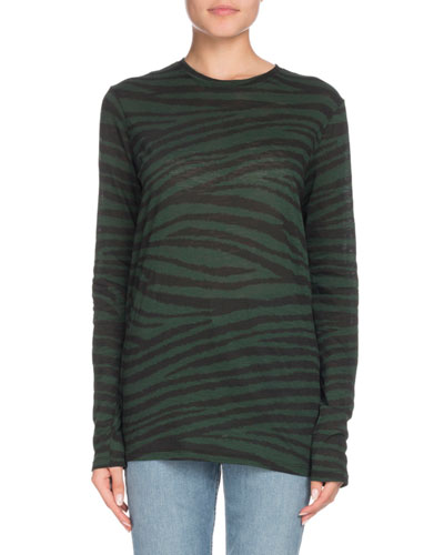 Crewneck Long-Sleeve Tiger-Print Top