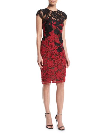 Cap-Sleeve Floral-Lace Cocktail Dress w/ Contrast Neckline