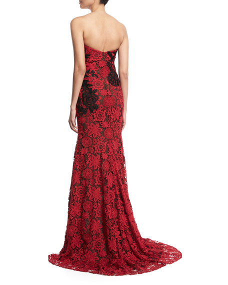 Strapless Sweetheart-Neck Floral-Lace Evening Gown
