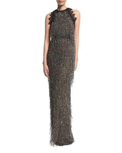 High-Neck Sleeveless Fringe-Beaded Column Evening Gown