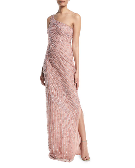 One-Shoulder Beaded Evening Gown