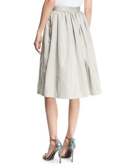 Ansley Full A-Line Taffeta Skirt w/ Pockets