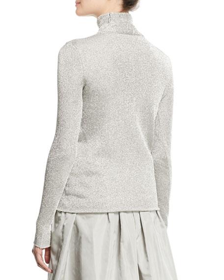 Turtleneck Long-Sleeve Metallic-Knit Sweater