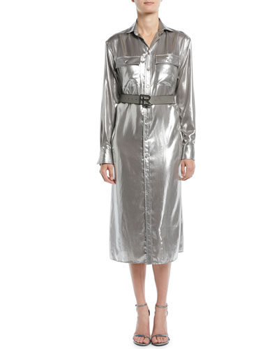 Christiane Button-Down Long-Sleeve Shiny Pocket