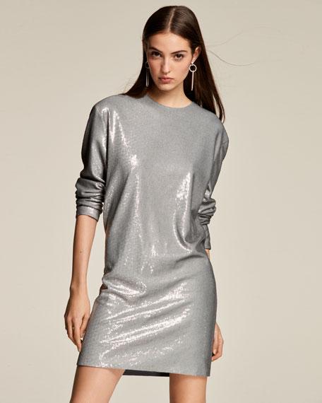 Sondra Long-Sleeve Beaded Shift Dress