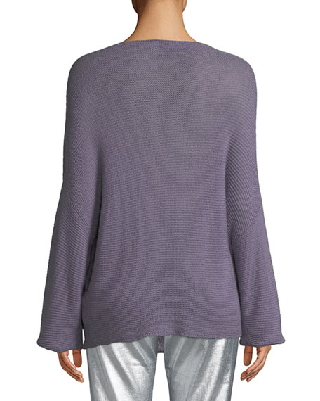 Boat-Neck Dolman-Sleeve Cashmere Sweater