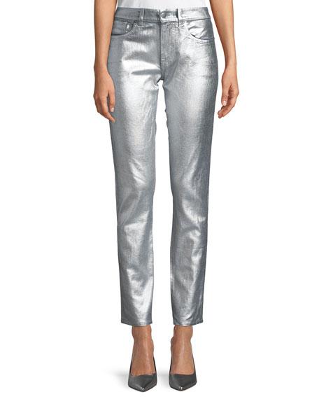 Barton Metallic Straight-Leg Jeans