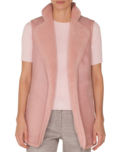 Stand-Collar No-Closure Reversible Suede Shearling Fur Vest