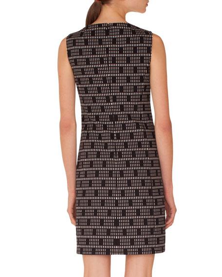 Sleeveless Colorblocked Lace Jacquard Sheath Dress