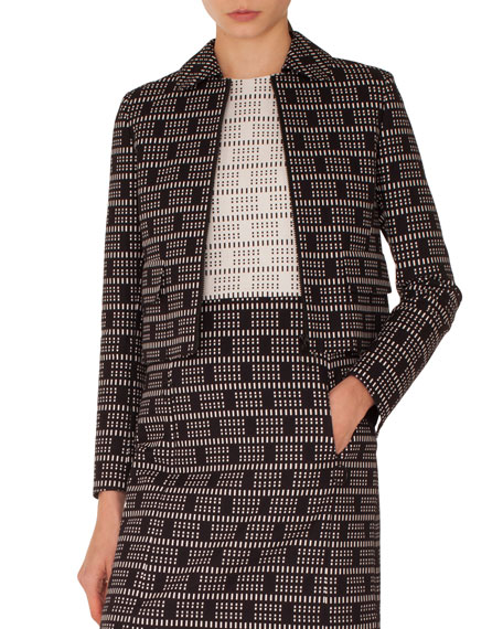Short Lace Jacquard Zip-Front Jacket