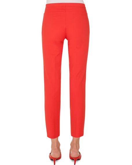Franca Techno-Cotton Side-Zip Straight-Leg Ankle Pants