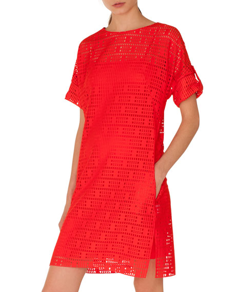 Boat-Neck Elbow-Sleeve Lace Dress with Pockets
