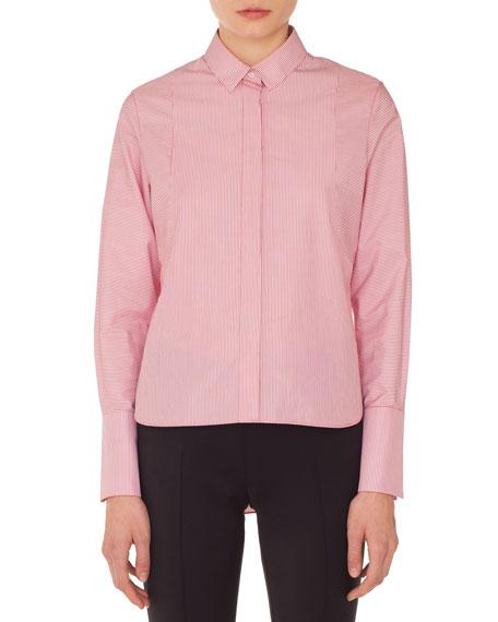 Detachable-Collar Long-Sleeve Striped Cotton Blouse