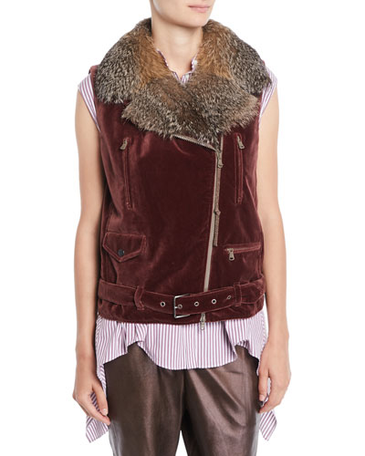 Velvet Moto Vest w/ Fox Fur Collar