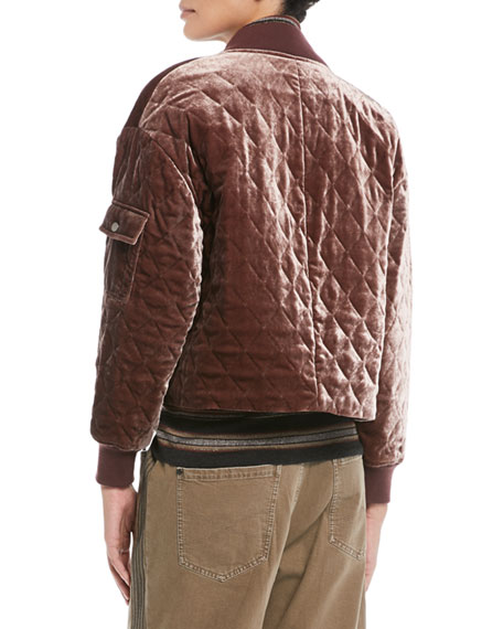 Quilted Velvet Asymmetrical-Zip Jacket