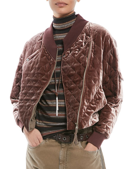 Brunello Cucinelli Quilted Velvet Asymmetrical-Zip Jacket and