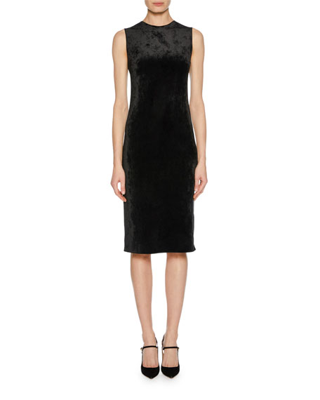 Sleeveless Jersey Velvet Fused Fitted Dress