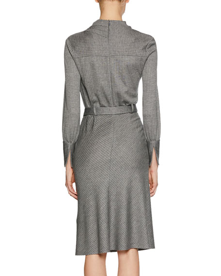 Long-Sleeve Belted Pinstriped Jersey Dress