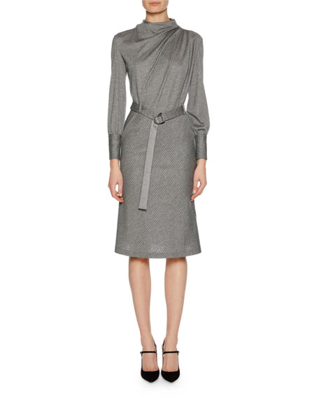 Giorgio Armani Long-Sleeve Belted Pinstriped Jersey Dress
