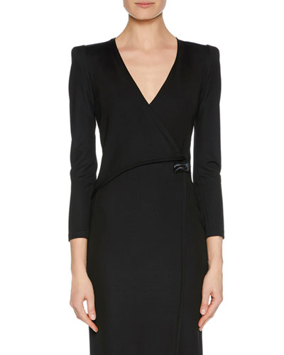 V-Neck Faux-Wrap Jersey Dress w/ Strong Shoulders