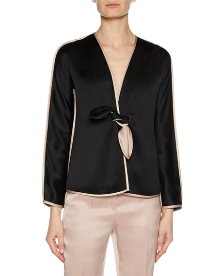 Prive Long-Sleeve Tie-Front Silk Satin Jacket with Tie-Waist