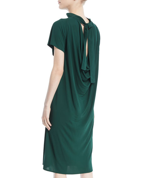 Mock-Neck Short-Sleeve Drape-Back Shift Dress