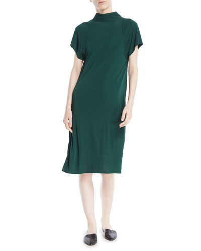 Mock-Neck Short-Sleeve Drape-Back Shift Dress