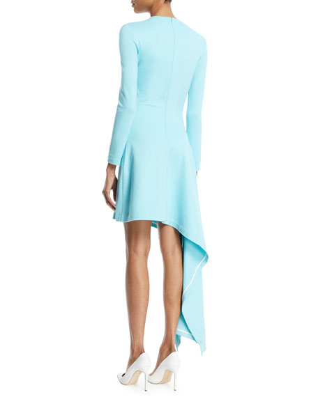 Long-Sleeve Asymmetric-Drape Interlock Jersey Dress