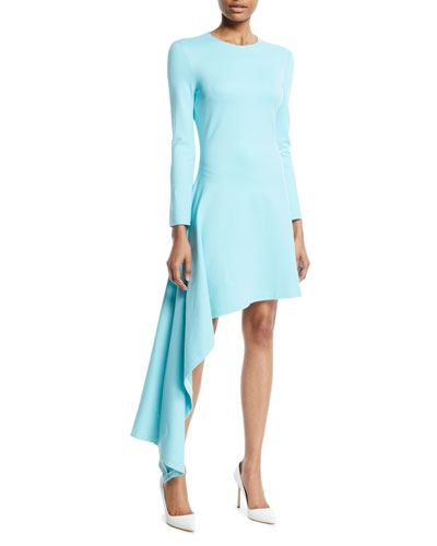 Long-Sleeve Asymmetric-Drape Interlock Jersey Dress