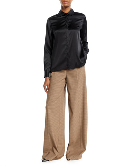 High-Waist Pleat-Front Wide-Leg Houndstooth Trousers