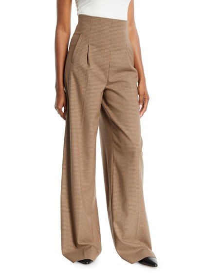 Rosetta Getty High-Waist Pleat-Front Wide-Leg Houndstooth Trousers