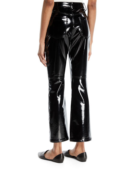 Cropped Skinny-Flare Lacquered Terry
