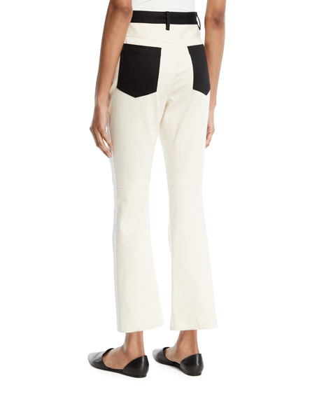 High-Rise Skinny Flared Cropped Jeans w/ Contrast Pockets