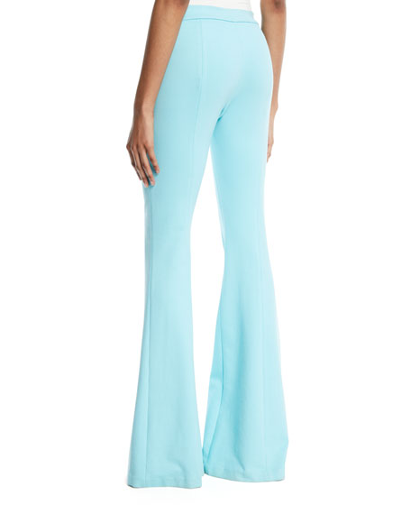 Pintuck Skinny Flared-Leg Interlock Jersey Pants