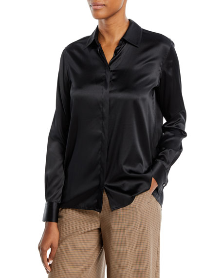 Long-Sleeve Button-Front Drape-Back Silk Satin Shirt